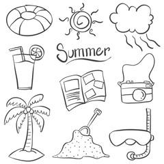 Doodle of summer object vector art