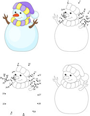 Cartoon snowman. Coloring book and dot to dot game for kids
