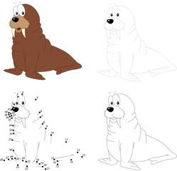 Cartoon walrus. Dot to dot game for kids