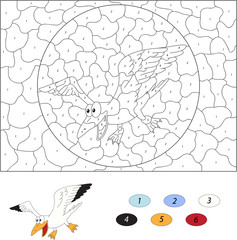 Cartoon polar seagull. Color by number educational game for kids