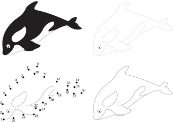 Cartoon killer whale. Dot to dot game for kids
