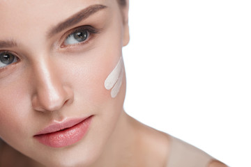 Skin Care. Sexy Girl With Foundation Or Cosmetic Cream On Face