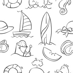 Collection stock of summer object doodles