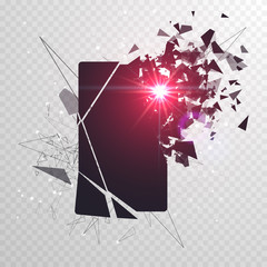 Cracked phone screen shatters into pieces. Broken smartphone split by the explosion. Display of the phone shattered. Modern gadget needs to be repaired.