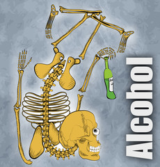 Concept on theme no alcohol. Broken skeleton with a bottle of al