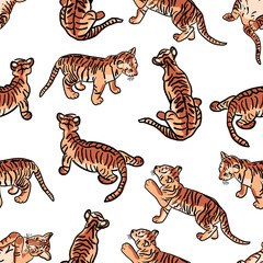 Tiger cubs. Seamless pattern on white background.