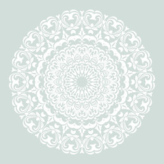 Elegant round white ornament in classic style. Abstract traditional pattern with oriental elements