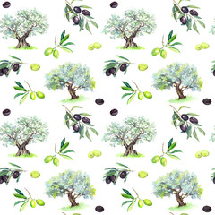 Olive branches, trees - olives seamless pattern. Watercolor