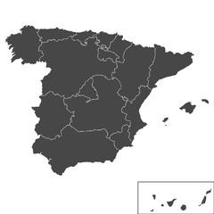 Детальная, точная карта Испанского Королевства. Векторная иллюстрация.