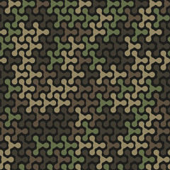 Abstract military or hunting camouflage background. Green and brown color. Made from geometric metaball shapes. Seamless pattern.