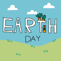 Earth day word on nature view cartoon vector illustration