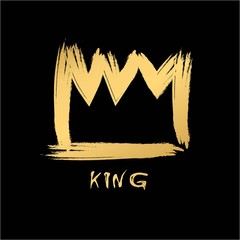 Painted with a brush crown of the king in grunge style gold on an isolated black layer