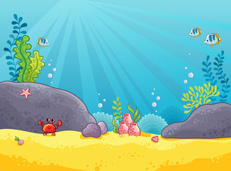 Door stickers Rainbow Marine background. Vector illustration of the underwater world. The picture in the style of childrens cartoon.