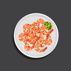 Cartoon vector illustration of fried shrimp