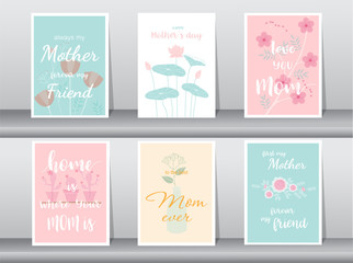 Set of Happy Mother's Day card,poster,template,greeting cards,flower,Vector illustrations