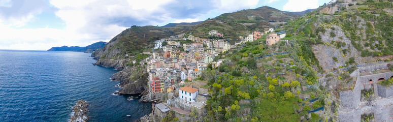 Panoramic aerial view of Riomaggiore, Five Lands - Italy
