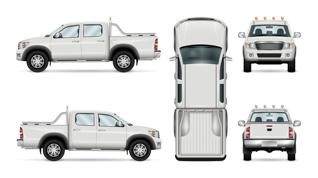 Pickup truck vector template isolated car on white background. All layers and groups well organized for easy editing and recolor. View from side front back top.