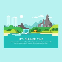 Garden Poster Light blue Natural landscape with hills, mountains and waterfall. Summer time. Vector illustration.