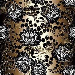Floral seamless pattern. Gold background wallpaper illustration with black white vintage line art russian ornament, swirl leaves, berries and flowers.Vector flourish texture for fabric, print, textile