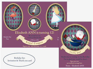 Alice in Wonderland. Royal croquet Birthday Invitation.