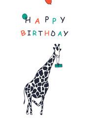Birthday card with a giraffe.