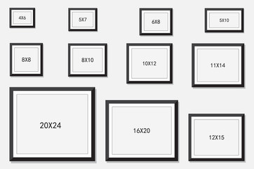 picture and photo frames size isolated on white background, vector illustration