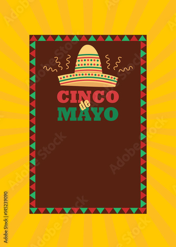 cinco de mayo flyer and poster template with traditional mexican hat