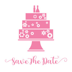 Save the date hand lettering and wedding cake for invitation card
