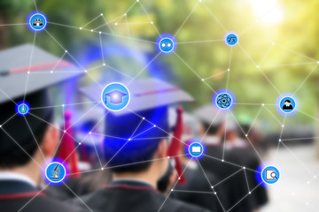 Smart education and education icon network conection with graduation in background, abstract image visual, internet of things concept.