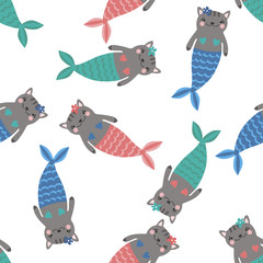 Seamless pattern with magic cute mermaids. Funny little cats. Sea theme. Vector illustration.