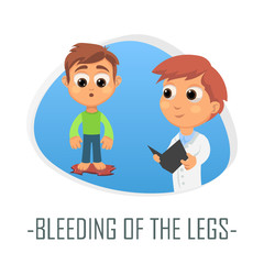 Bleeding of the legs medical concept. Vector illustration.