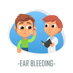 Ear bleeding medical concept. Vector illustration.