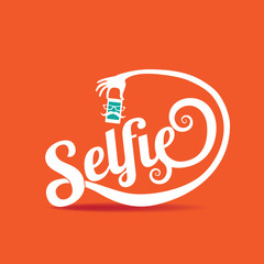 Selfie icon flat design. The word Selfie takes a photo. With fun mustache and eyeglasses. EPS 10 vector.