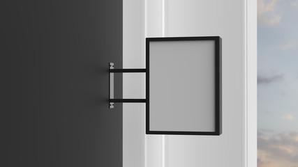 Rectangle signboard on dark wall. 3D illustrating.