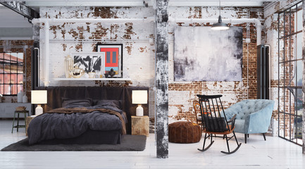 Sleeping area in old vintage design industrial Loft Apartment - Bett in altem Industrie Loft