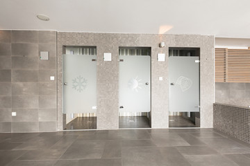 Shower cabins in spa center