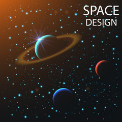 abstract space elements and planets with shine sparkles isolated on dark background