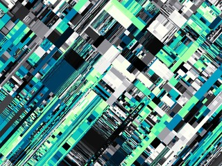 Abstract image in futuristic technology style. Horizontal green geometric background.