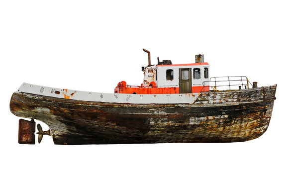 old wooden fishing boat isolated on white background, with clipping path