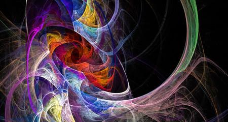 fractal multicolored crystals on black background
