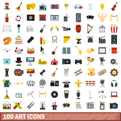 100 art icons set, flat style