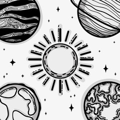 different planets around the sun in the galaxy