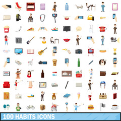 100 habits icons set, cartoon style
