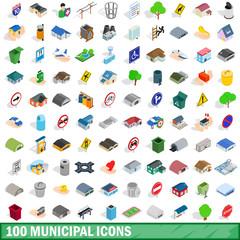 100 municipal icons set, isometric 3d style