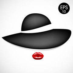 Woman in fashion black hat with red lips. Vector illustration