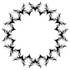 Black and white floral round frame. Copy space. Vector clip art