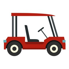 Red golf cart icon isolated