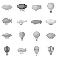 Vintage balloons icons set monochrome