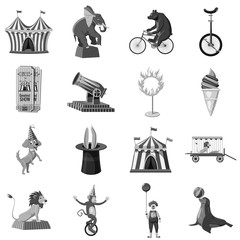 Circus symbols icons set monochrome