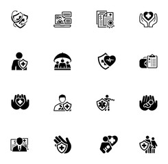 Insurance and Medical Services Icons Set.